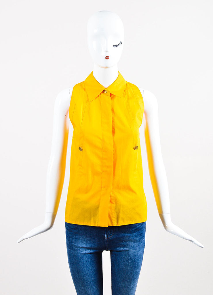 Yellow Chanel Cotton Sleeveless Button Up Shirt Frontview