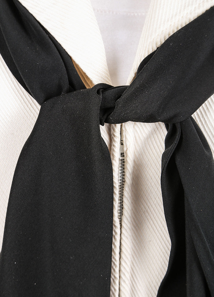 Cream Chanel Draped Collar Tie Front Cropped Jacket Detail