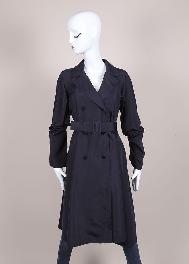 "Chanel Navy Lightweight Silk ""CC"" Buttoned and Belted Trench Coat Frontview"