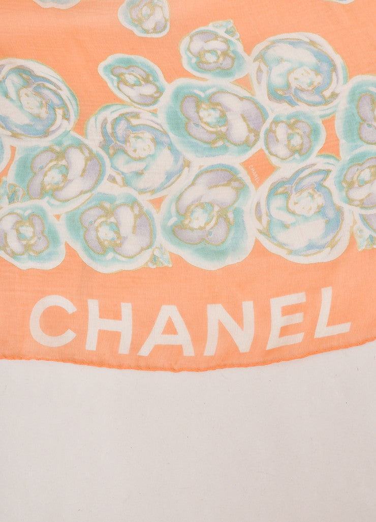 Chanel Peach and Green Floral Print Semi-Sheer Silk Scarf Brand