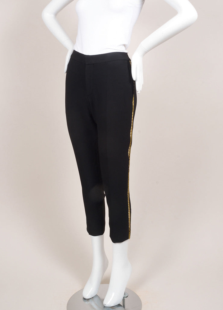 Chloe New With Tags Black and Gold Toned Chain Trim Ankle Crop Trousers Sideview