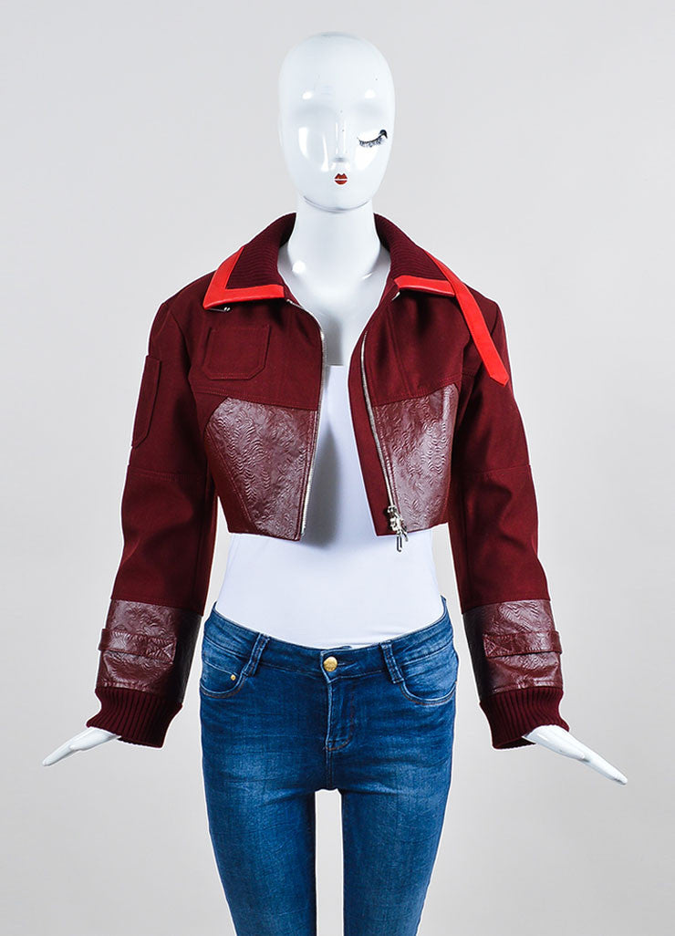 Christian Dior Maroon Red Cropped Long Sleeve Jacket Frontview