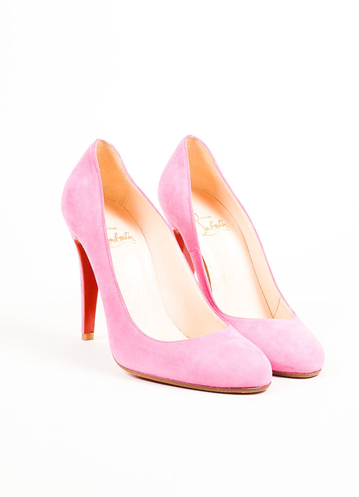 "Christian Louboutin Pink Suede Leather Almond Toe ""Ron Ron"" Pumps Frontview"