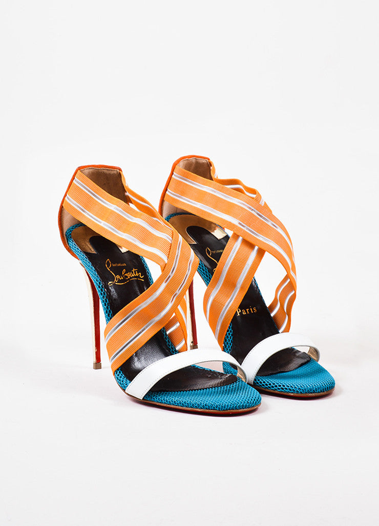 "Christian Louboutin Orange and Blue Mesh Leather ""Elastagram"" Strap Sandals Frontview"