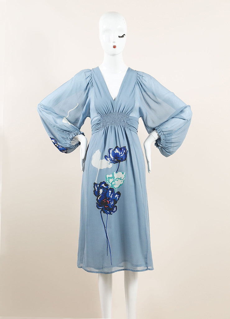 Dries Van Noten Light Blue Silk Floral Print Semi-Sheer Long Sleeve Dress Frontview