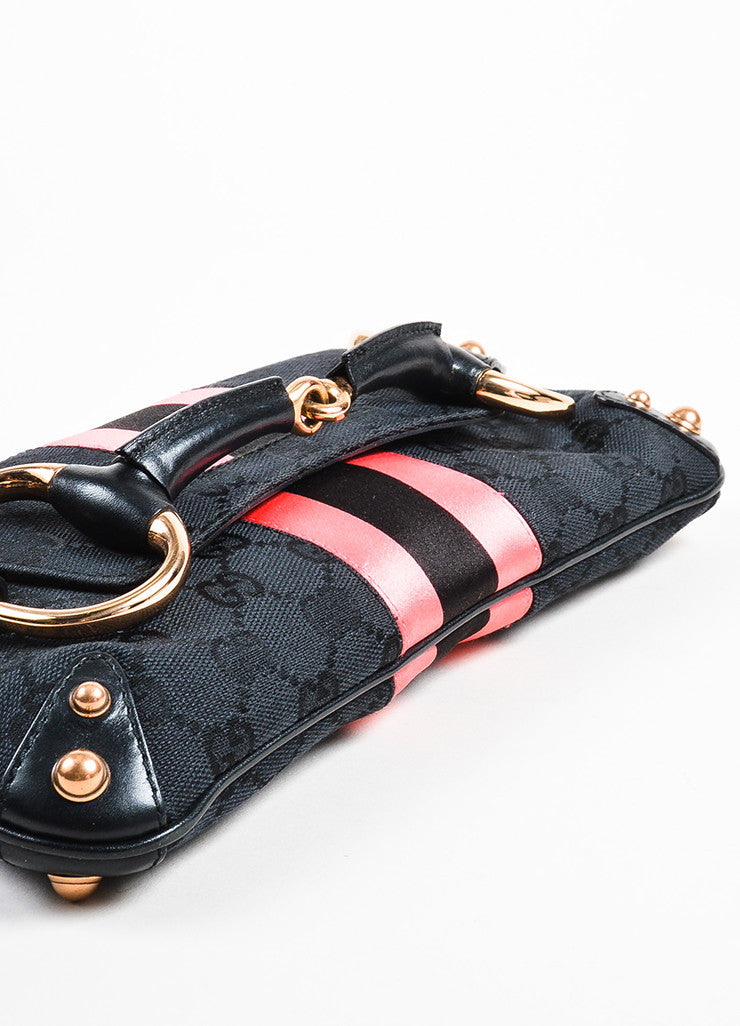 Black and Pink Gucci Canvas Horsebit Detail Convertible Clutch Bag Detail