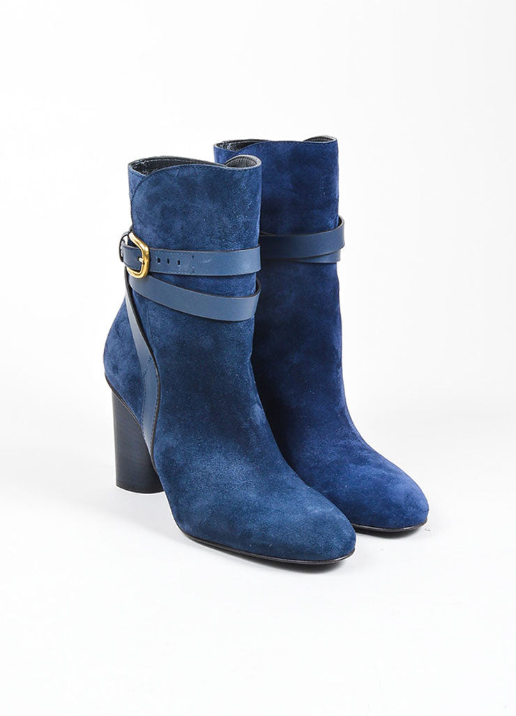 "Navy Blue Gucci Suede Crisscross Strap ""Abigail"" Ankle Boots Frontview"
