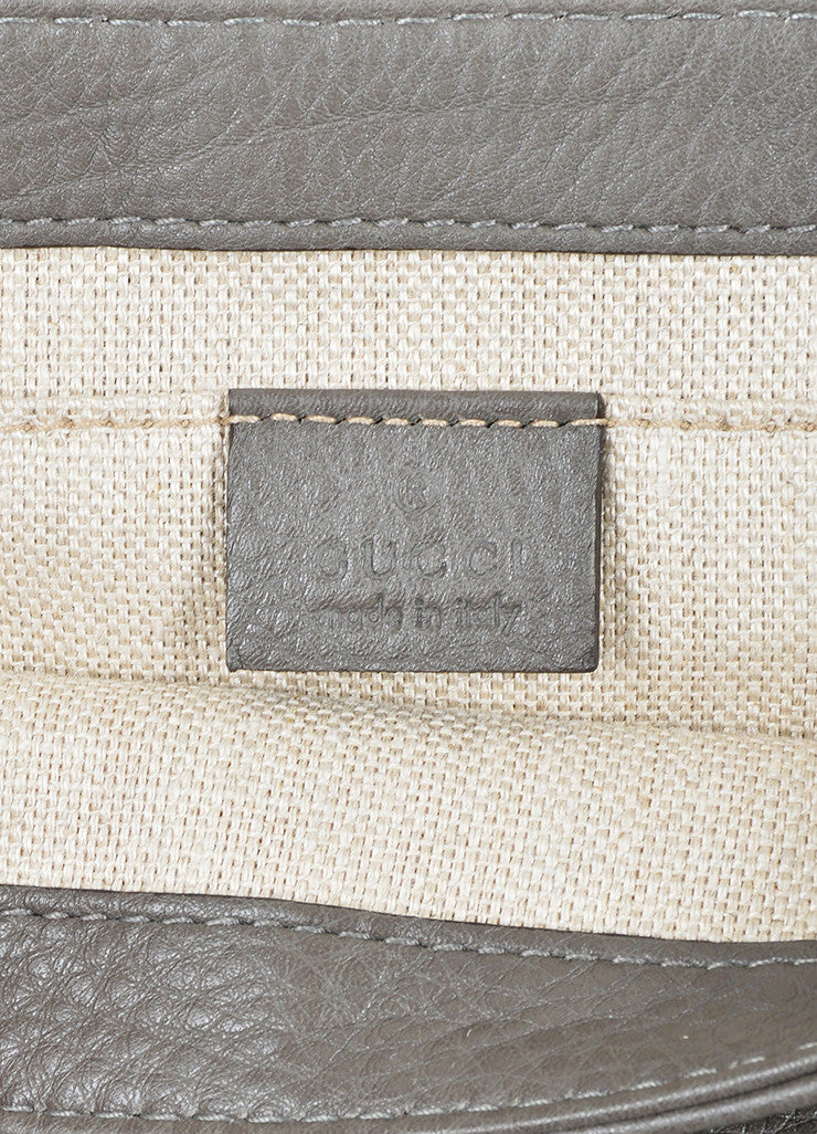 "Grey Gucci Pebbled Leather Chain ""Greenwich"" Evening Shoulder Bag Brand"