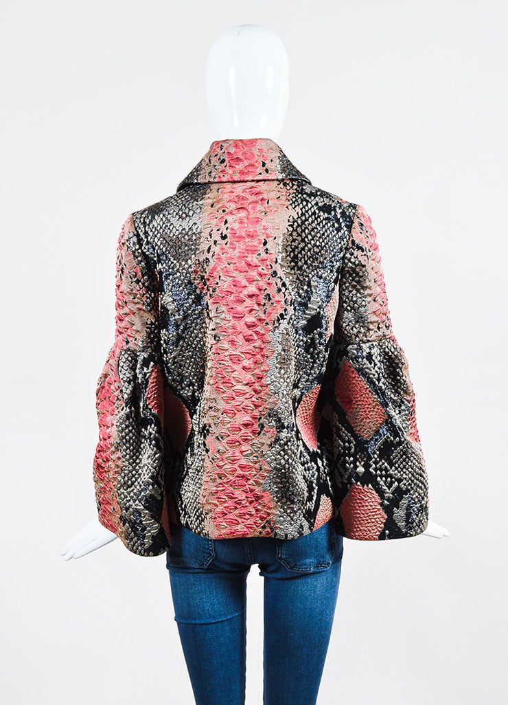Black and Red Gucci Silk Snakeskin Jacquard Bell Sleeve Jacket Backview