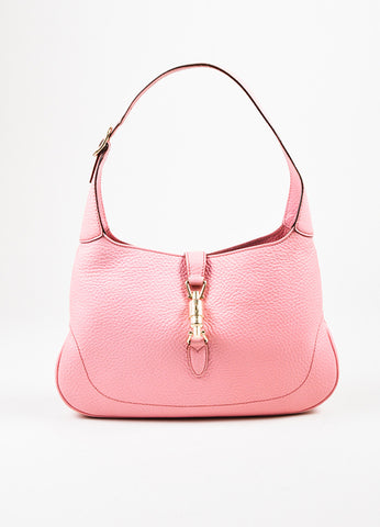 "å´?ÌÜGucci Pink Pebbled Leather Gold Toned Hardware ""Small Jackie"" Shoulder Bag Frontview"