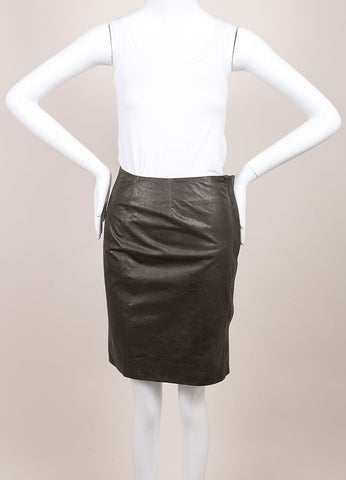 "Haider Ackermann New With Tags Grey Leather Front Zip ""Athena"" Pencil Skirt  Frontview"