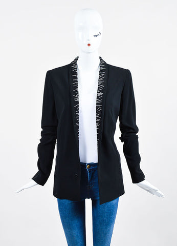 Black Haider Ackermann Ribbed Crepe Topstitched Blazer Frontview