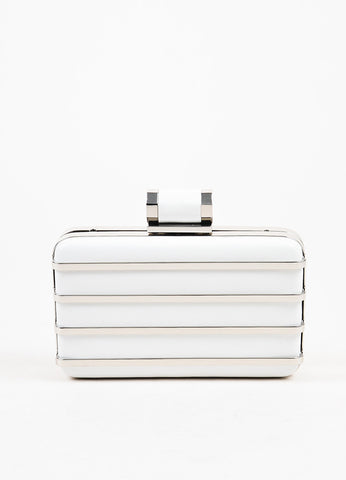 Halston Heritage White and Silver Leather Striped Box Minaudiere Clutch Bag