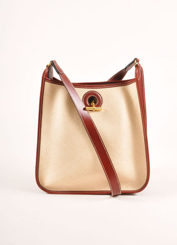 "Hermes Cream and Brown Raffia and Leather Toggle ""Vespa"" Shoulder Bag Frontview"