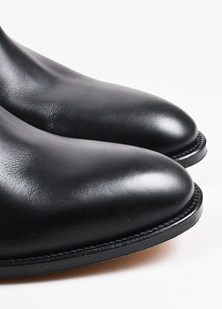 "Hermes Black Leather ""Jumping"" Almond Toe Tall Riding Boots Detail"