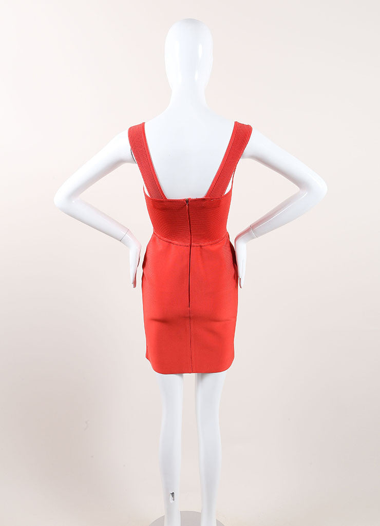 Herve Leroux New With Tags Orange Sleeveless Bodycon Dress Backview