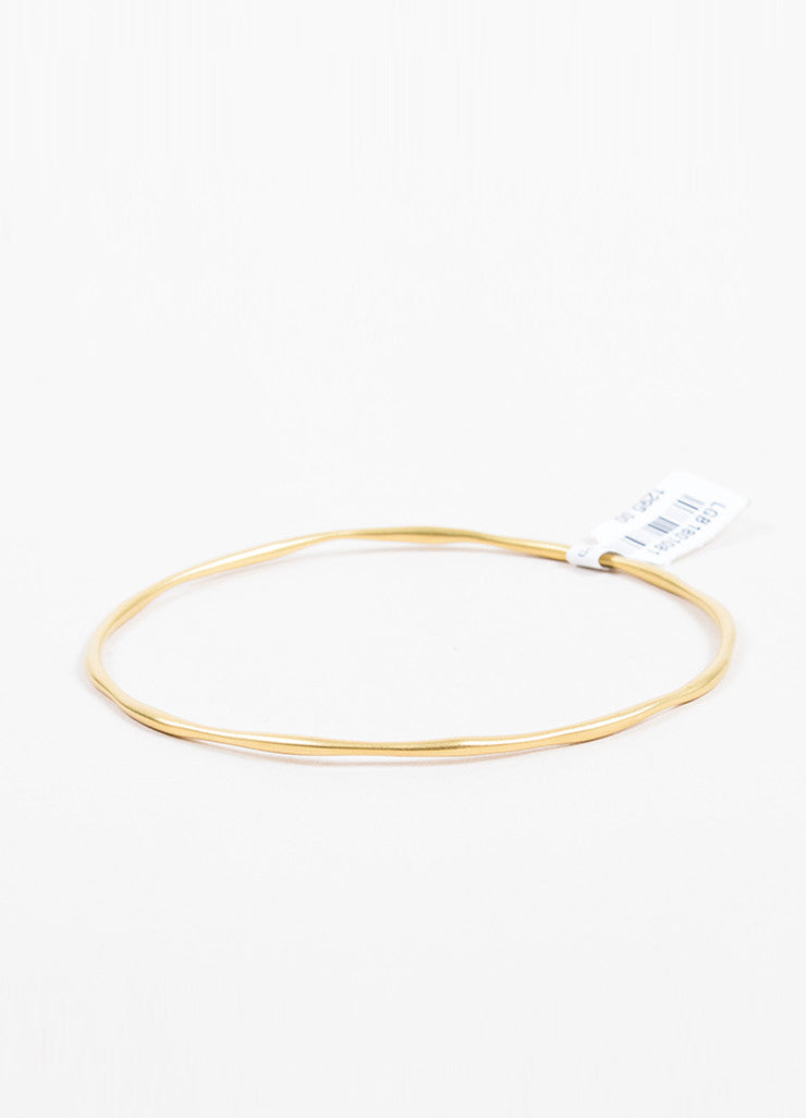 18K Yellow Gold Ippolita Matte Squiggle Bangle Bracelet Front