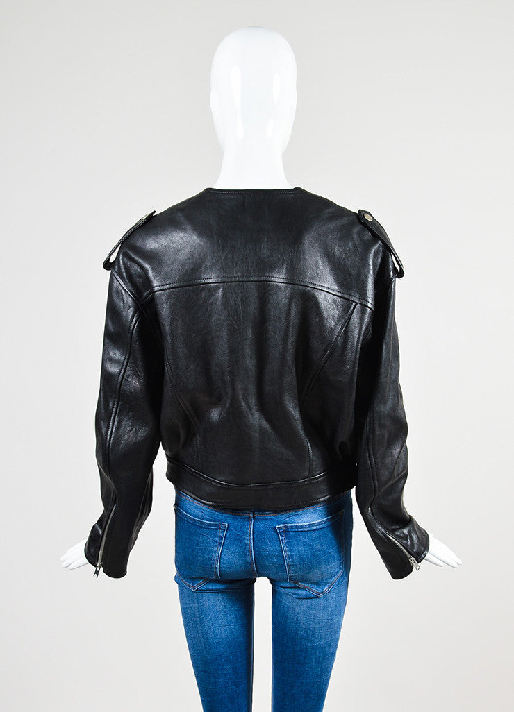 "Black Isabel Marant Leather ""Audric"" Moto Jacket Backview"