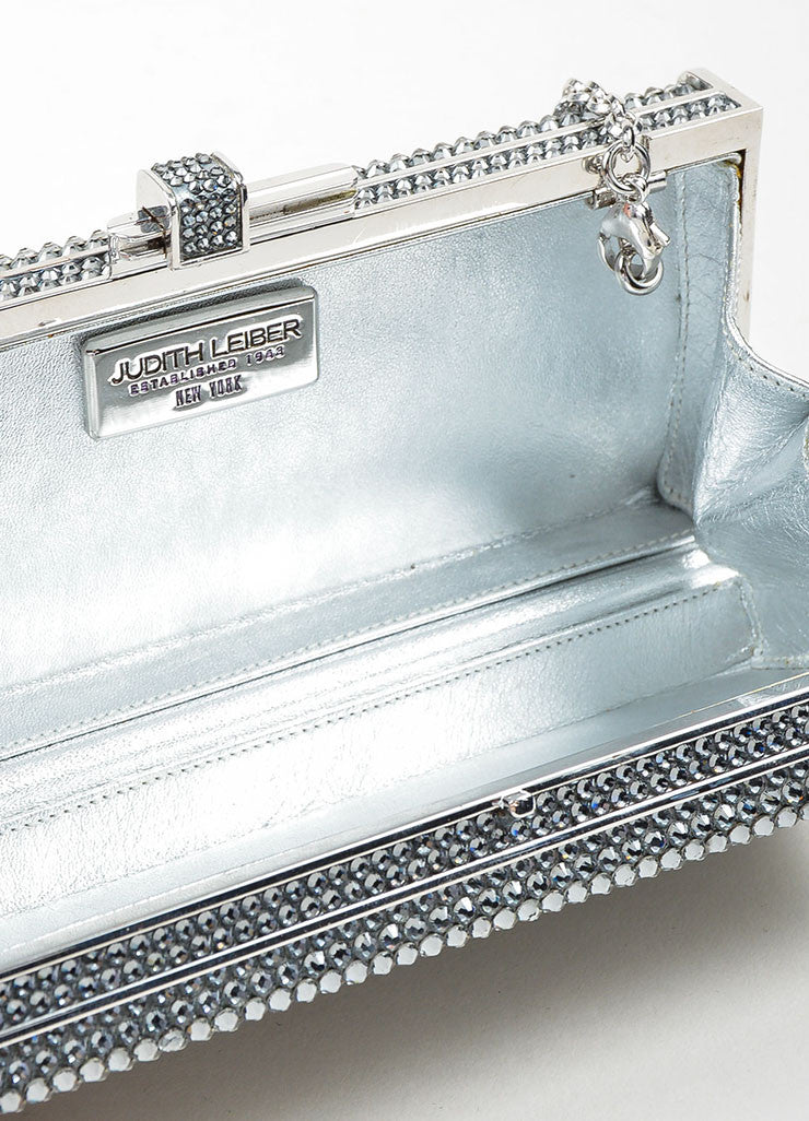 Silver Toned Judith Leiber Rhinestone Covered Rectangular Convertible Clutch Bag Interior