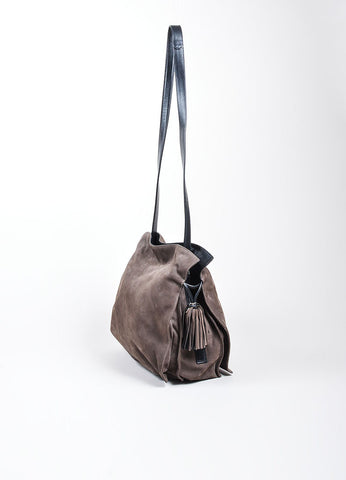 "Charcoal Grey Loewe Nubuck Tassel ""Flamenco"" Shoulder Bag Sideview"