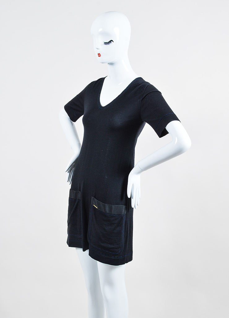 Black Louis Vuitton Wool and Cashmere Knit Short Sleeve V Neck Shirt Dress Sideview
