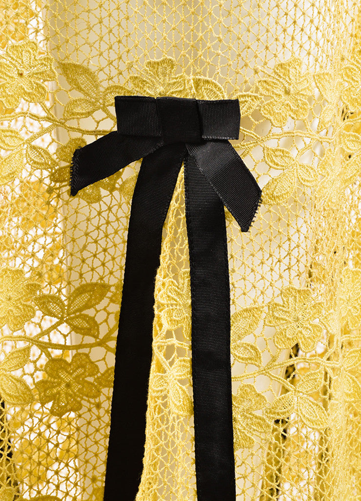 Louis Vuitton Yellow and Brown Cotton Lace Bow Ribbon Trim Skirt Detail