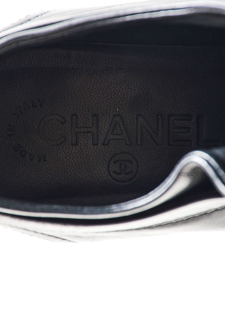 Black Chanel Leather Patent Cap Toe 'CC' Sneakers Brand