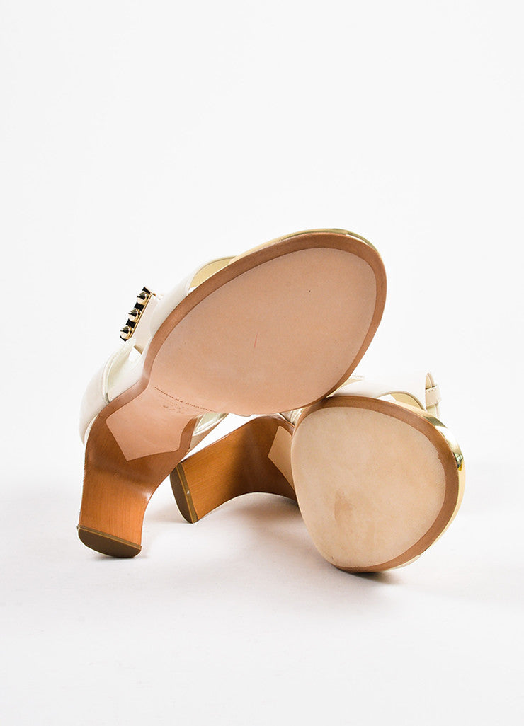 "Nicholas Kirkwood ""Nude"" Leather Contoured Heel ""Maeva"" Sandals Outsoles"