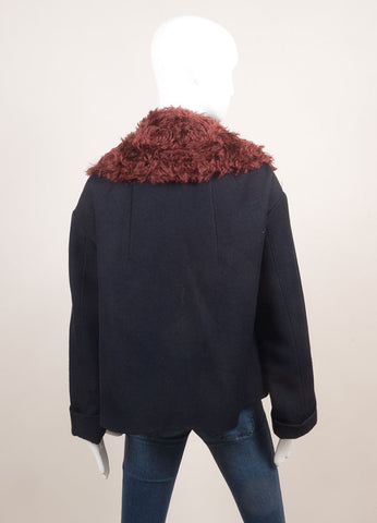 Odeeh New With Tags Navy and Maroon Cotton and Wool Mohair Collar Zip Swing Jacket Backview