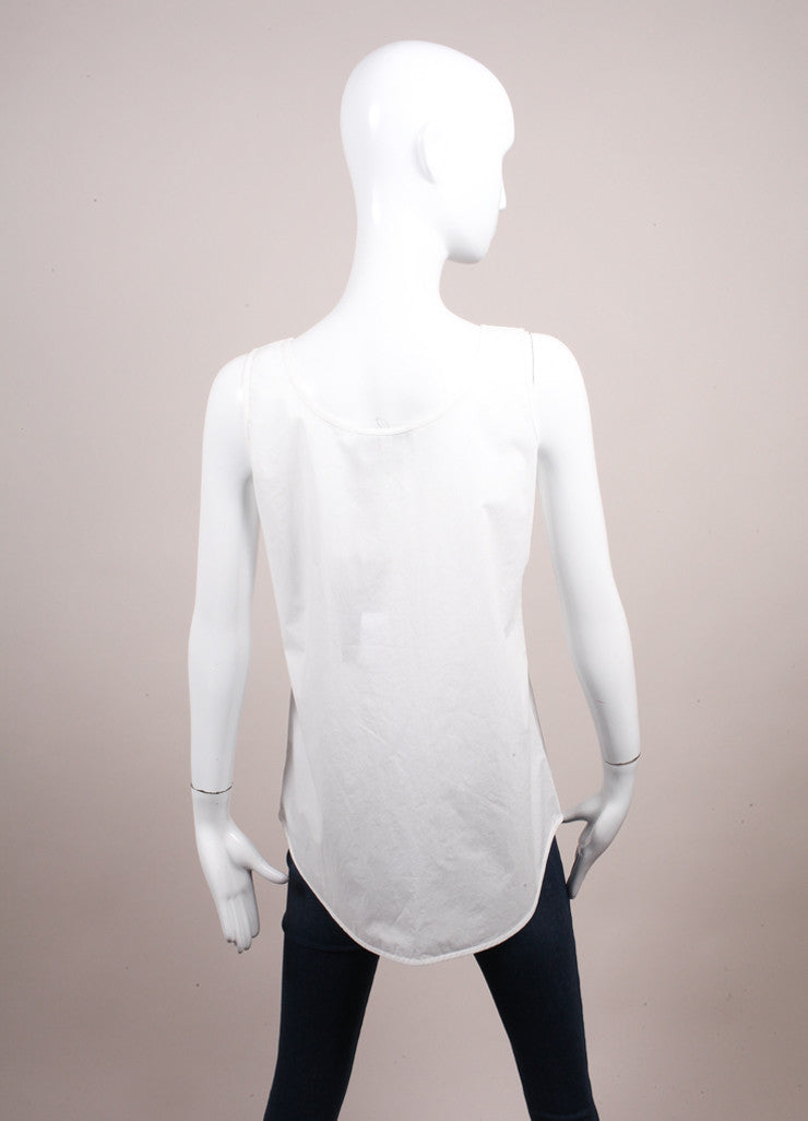 "Odeeh New With Tags ""Milk"" White Cotton Poplin Scoop Neck Tank Top Backview"
