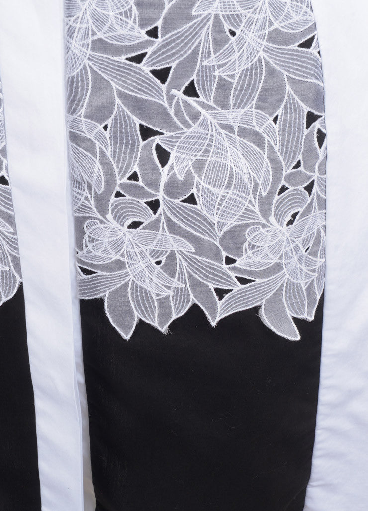 "Peter Pilotto New With Tags White and Black Poplin Silk Lace Trim ""Cate"" Dress Detail"