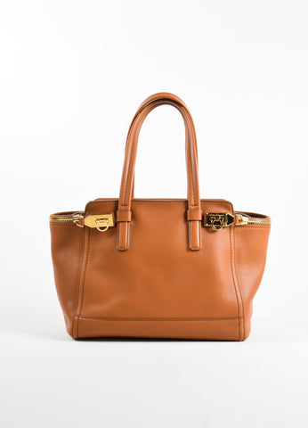 "Salvatore Ferragamo Brown Leather Medium ""Verve Gancio"" Tote Bag Frontview"