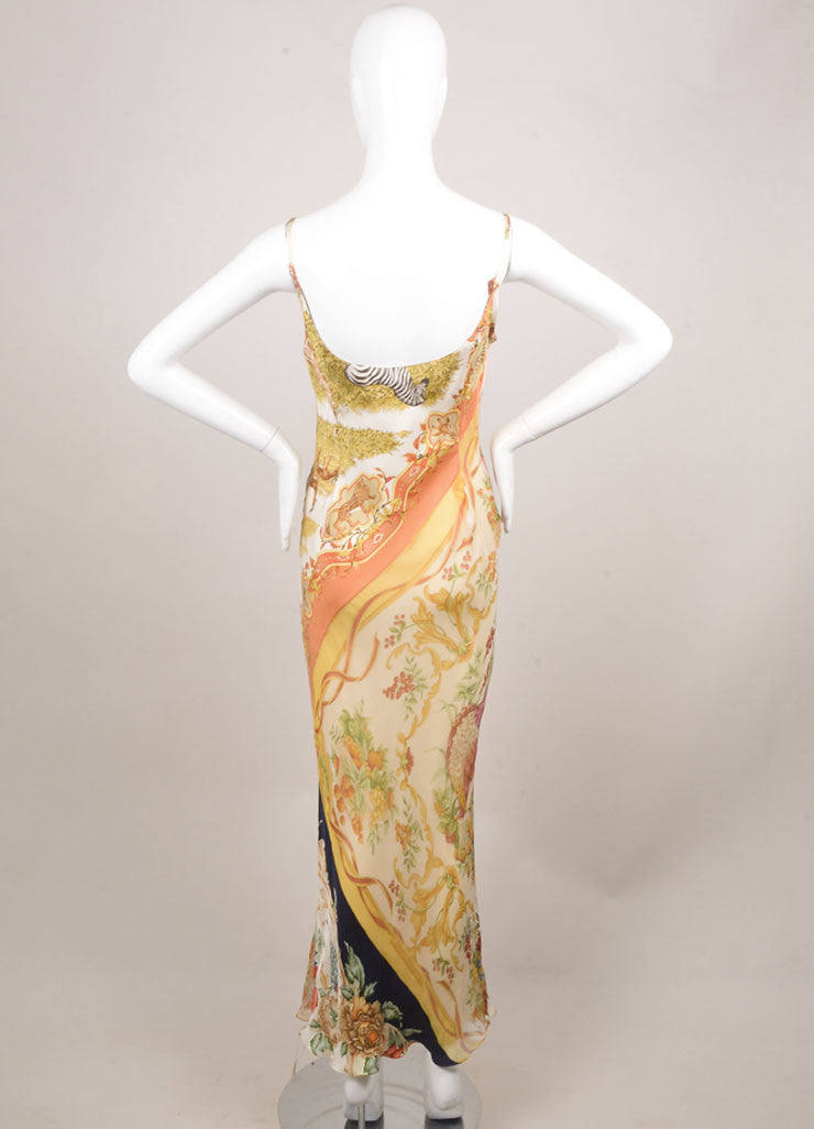 Salvatore Ferragamo Cream, Black, and Green Silk Butterfly Print Maxi Dress Backview