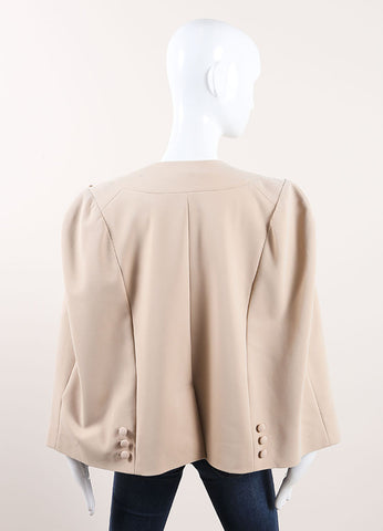 Thakoon New With Tags Tan Wool Crepe Blend Sleeveless Blazer Jacket Cape Backview