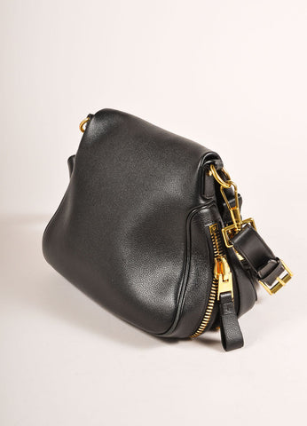 "Tom Ford Black and Gold Toned Chunky Zip Flap Leather ""Jennifer"" Cross Body Bag Sideview"