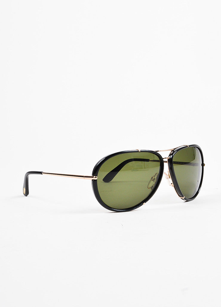 "Tom Ford Black and Gold Toned Frame Aviator ""Cyrille"" Sunglasses Sideview"