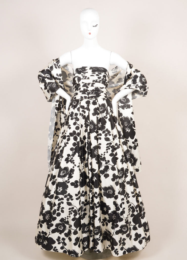 Two by Rosa Clara Cream and Black Floral Print Ruched Strapless Gown  Frontview