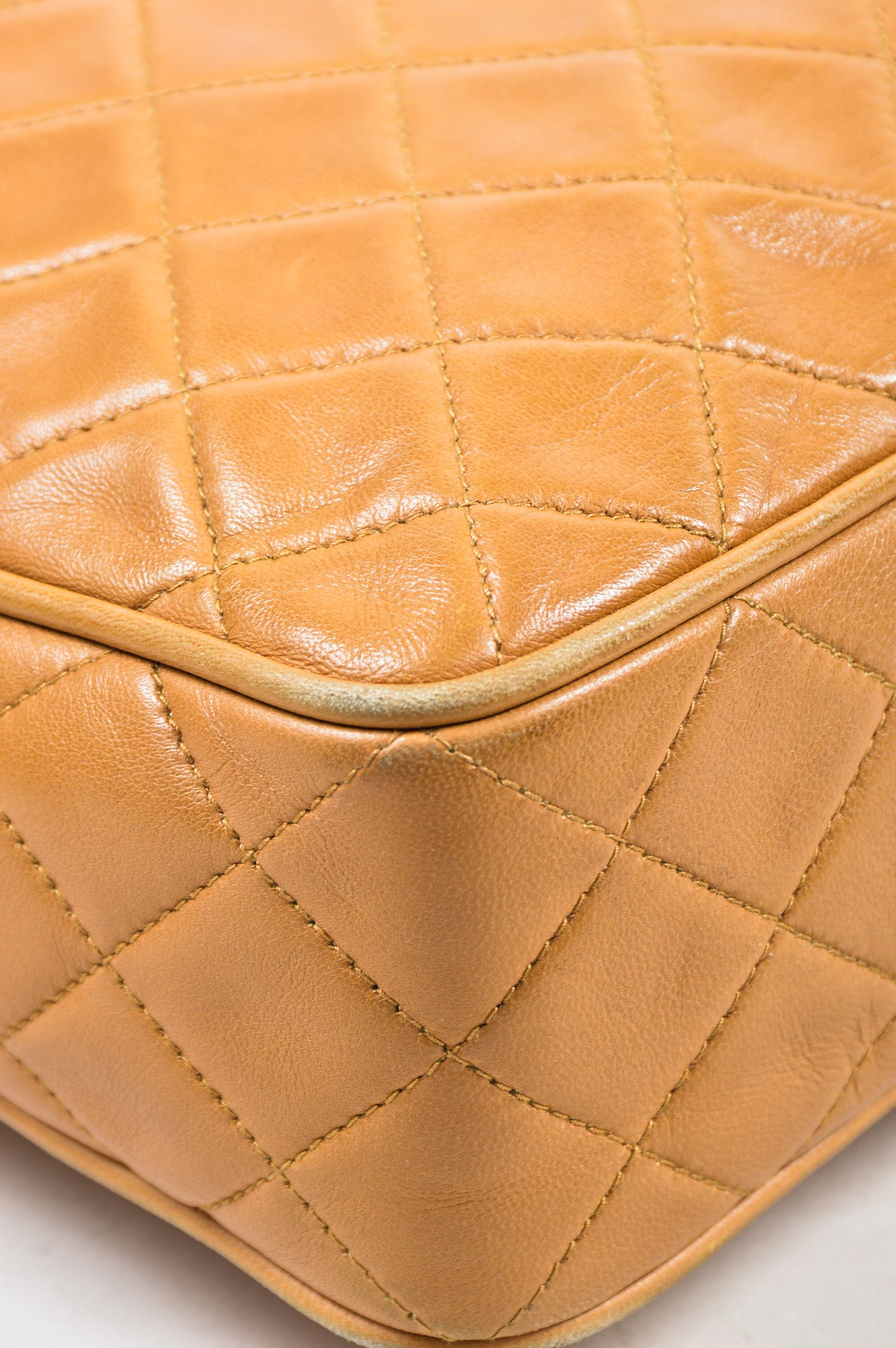 Caramel Tan Chanel Lambskin Leather Quilted 'CC' Tassel Shoulder Bag Detail