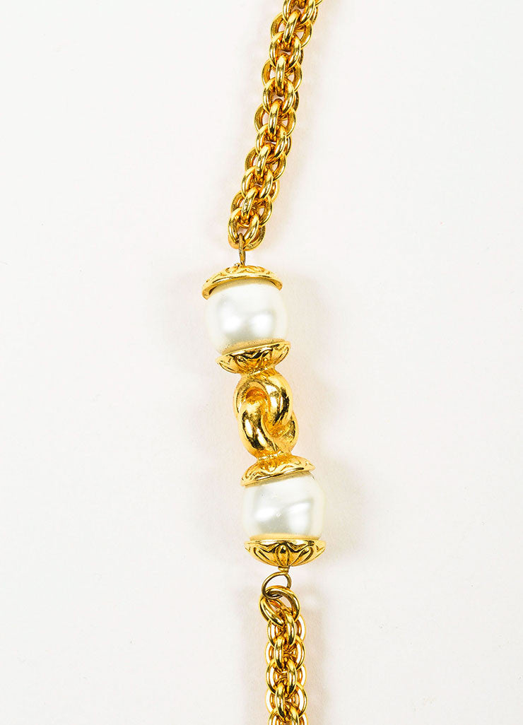 Gold Toned Chanel Faux Pearl Single Strand Long Chain Necklace Detail