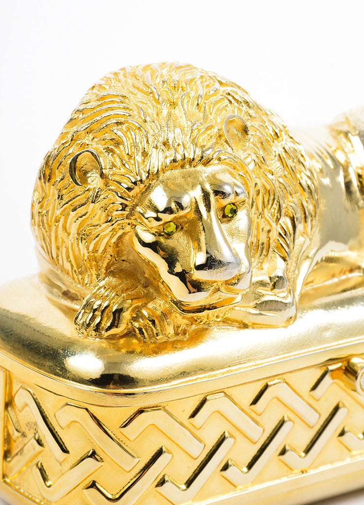 Gold Toned Judith Leiber Lion Minaudiere Clutch Bag Detail 2