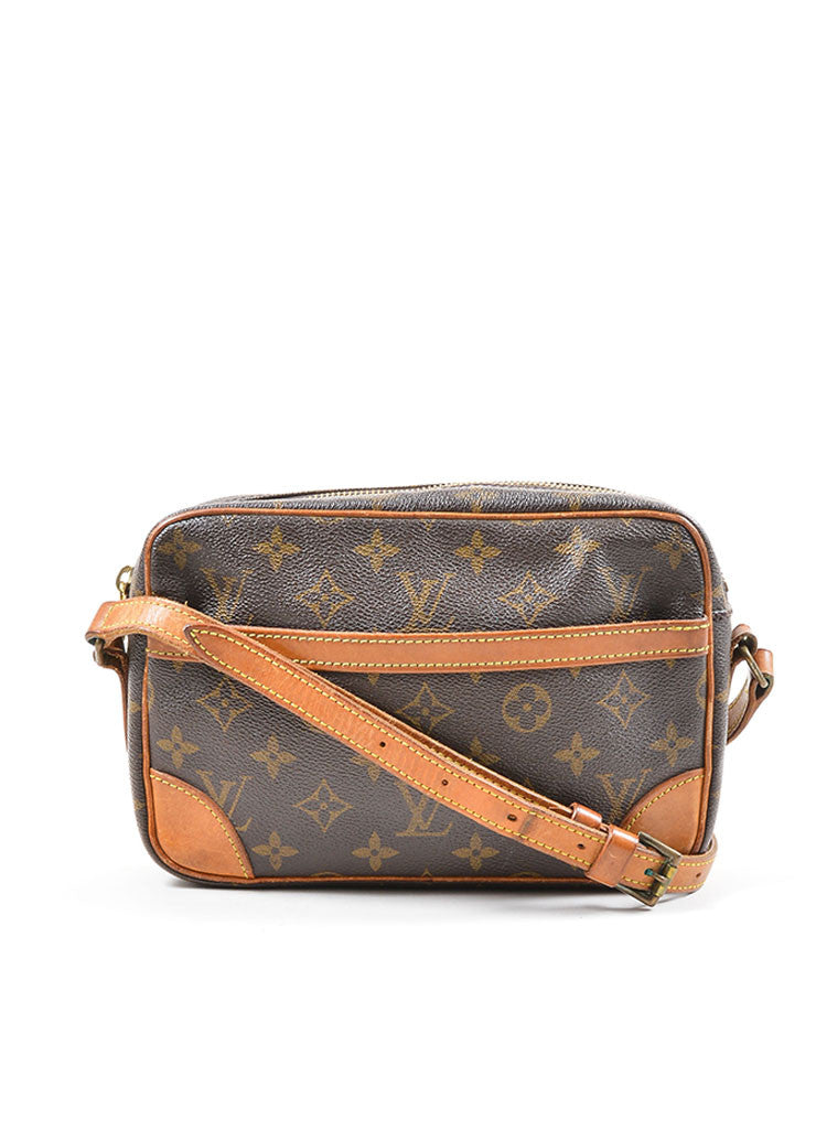 "Brown Louis Vuitton Coated Canvas Monogram ""Trocadero"" Shoulder Bag Frontview"