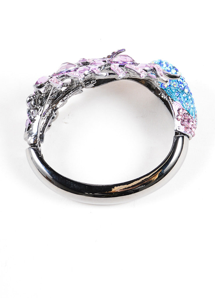 Vintage Silver Toned and Multicolor Rhinestone Embellished Peacock Bangle Bracelet Topview