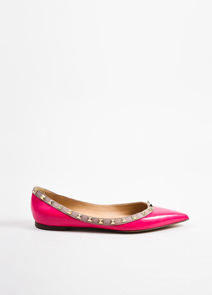 "Valentino Pink and Gold Toned Patent Leather ""Rockstud"" Flats Sideview"