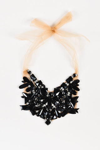 Vera Wang Black Jewel Nude Tulle Bib Statement Necklace