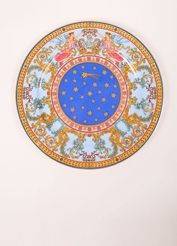 "Versace Rosenthal Multicolor ""Nativite 1997""  12 inch Service Plate Frontview"