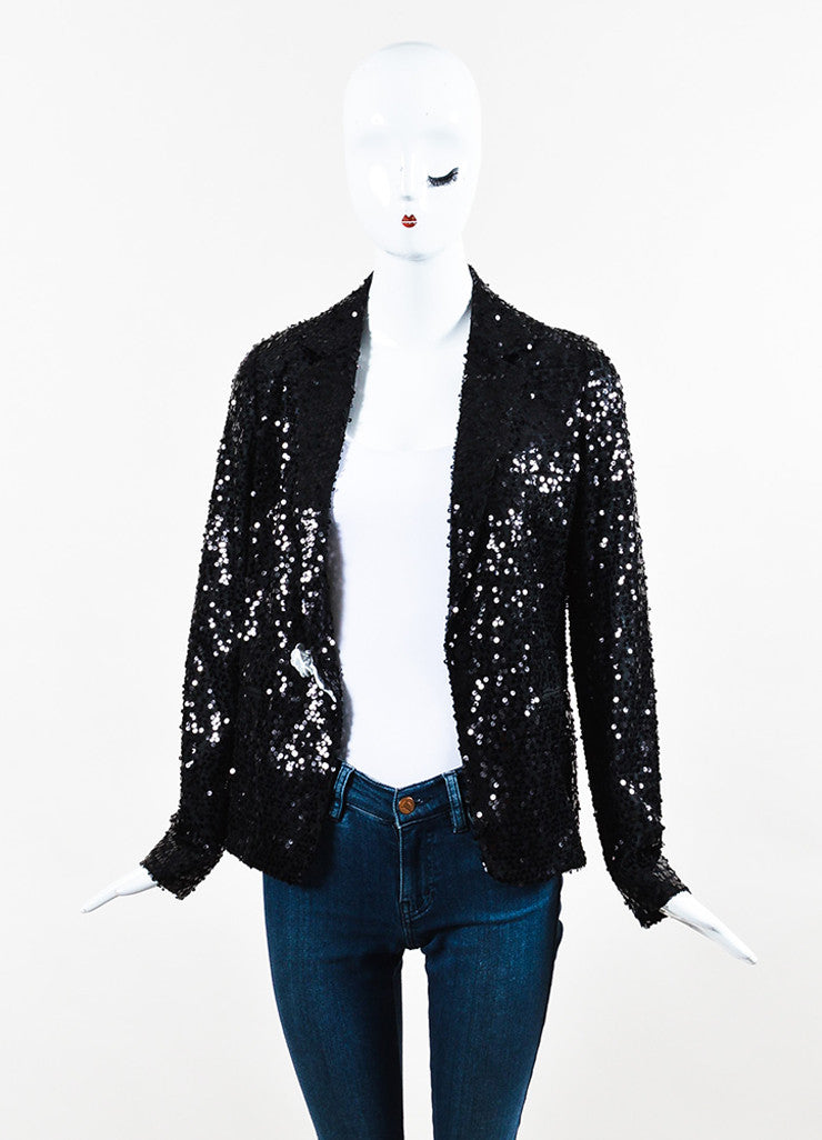 Black Victoria Beckham Sequin Evening Jacket With Pin Front
