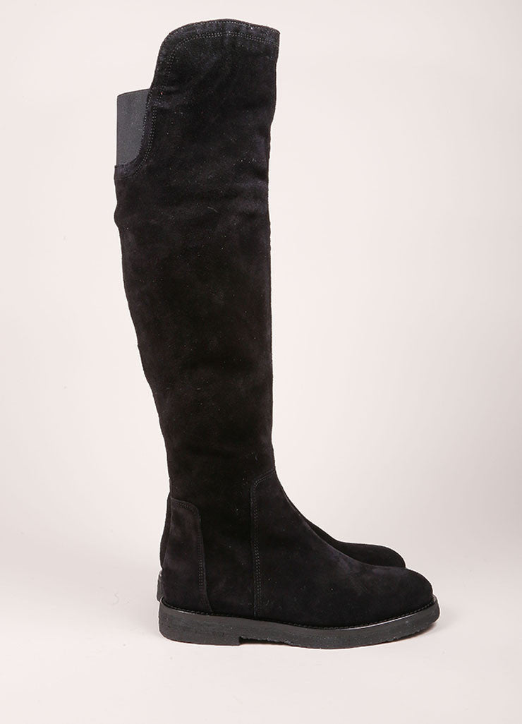 "Vince New In Box Black Suede Leather Knee High Flat ""Coleton"" Boots Sideview"