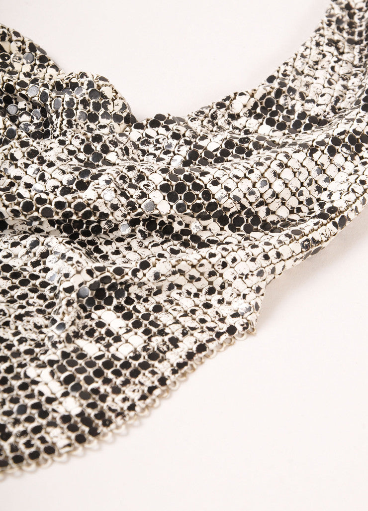 Whiting and Davis White and Black Mesh Snakeskin Print Cowl Drop Bib Necklace Detail 2