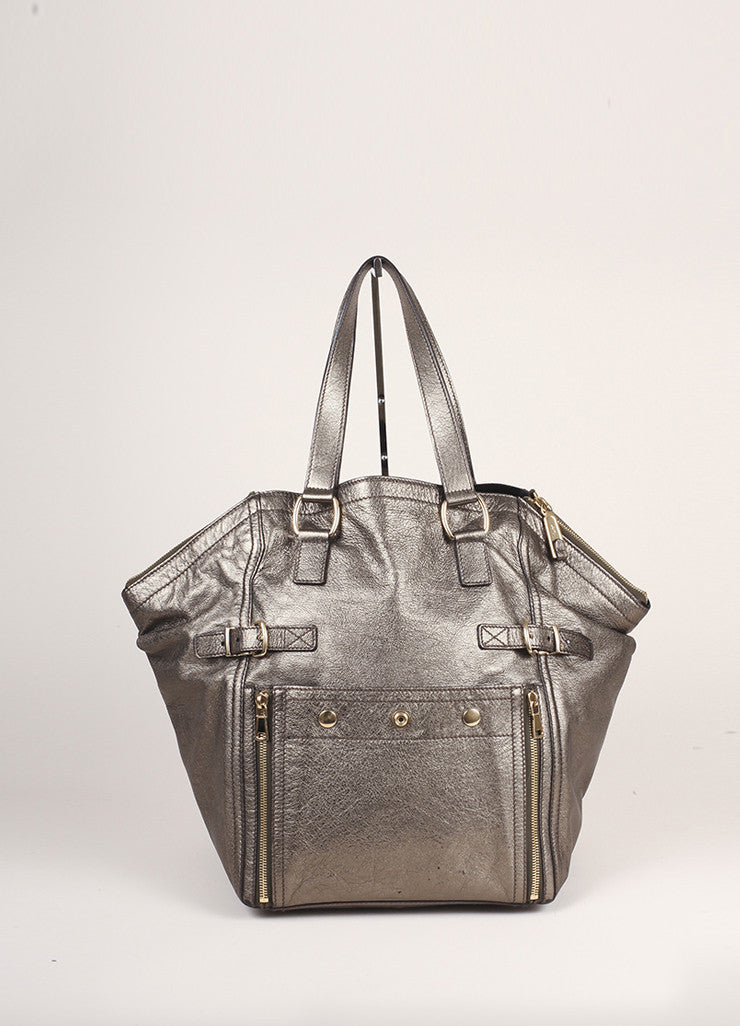 Yves Saint Laurent Grey Metallic Leather Tote Bag Frontview