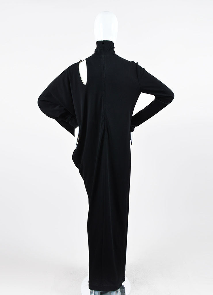 Jean Paul Gaultier Black Cut Out Asymmetrical Long Sleeve Gown Backview